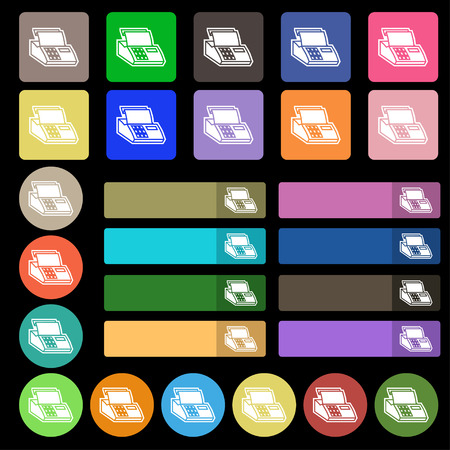 checkout line: Cash register machine icon sign. Set from twenty seven multicolored flat buttons. Vector illustration