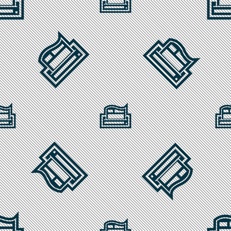 Newspaper icon sign. Seamless pattern with geometric texture. Vector illustration Illustration