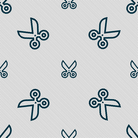 snip: scissors icon sign. Seamless pattern with geometric texture. Vector illustration