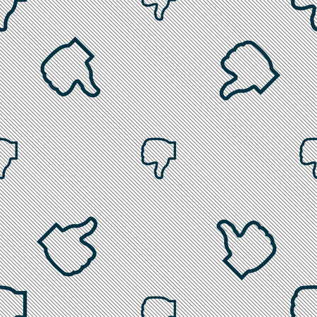 Dislike icon sign. Seamless pattern with geometric texture. Vector illustration