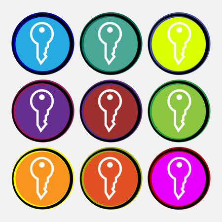 latchkey: Key icon sign. Nine multi colored round buttons. Vector illustration