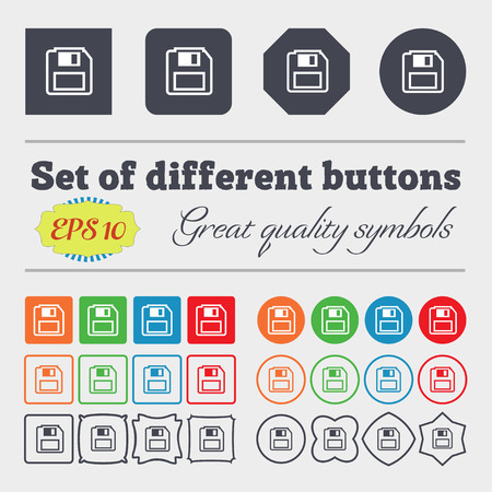 floppy drive: floppy disk icon sign. Big set of colorful, diverse, high-quality buttons. Vector illustration Illustration