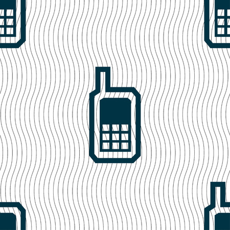 mobile phone icon: Mobile phone icon sign. Seamless pattern with geometric texture. Vector illustration