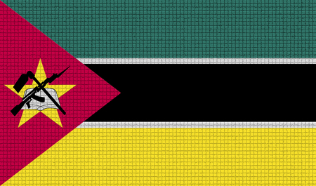 rasterized: Flags of Mozambique with abstract textures. Rasterized version