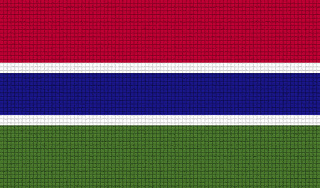 rasterized: Flags of Gambia with abstract textures. Rasterized version Stock Photo