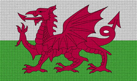 cymru: Flags of Wales with abstract textures. Rasterized version