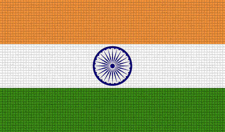 chakra symbol: Flags of India with abstract textures. Rasterized version Stock Photo