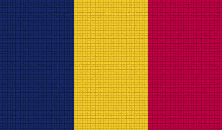 rasterized: Flags of Chad with abstract textures. Rasterized version Stock Photo