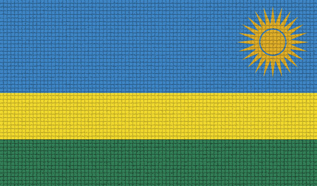 rasterized: Flags of Rwanda with abstract textures. Rasterized version Stock Photo