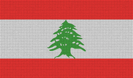 rasterized: Flags of Lebanon with abstract textures. Rasterized version Stock Photo