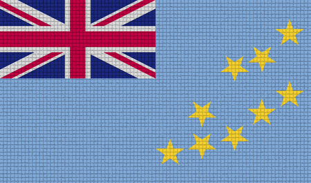 rasterized: Flags of Tuvalu with abstract textures. Rasterized version Stock Photo