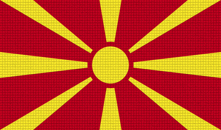 rasterized: Flags of Macedonia with abstract textures. Rasterized version Stock Photo