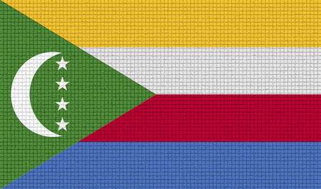 rasterized: Flags of Comoros with abstract textures. Rasterized version Stock Photo