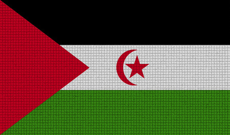 landlocked country: Flags of Western Sahara with abstract textures. Rasterized version