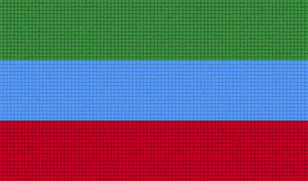 rasterized: Flags of Dagestan with abstract textures. Rasterized version Stock Photo