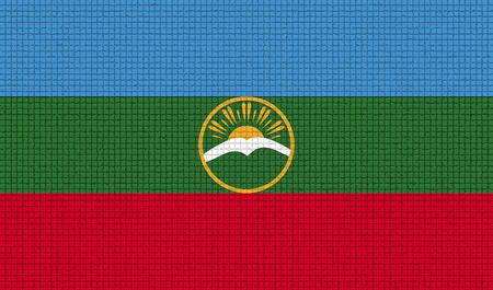 rasterized: Flags of KarachayCherkessia with abstract textures. Rasterized version Stock Photo