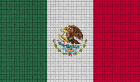 Flags of Mexico with abstract textures. Rasterized version