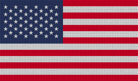 american history: Flags of USA with abstract textures. Rasterized version
