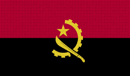 rasterized: Flags of Angola with abstract textures. Rasterized version