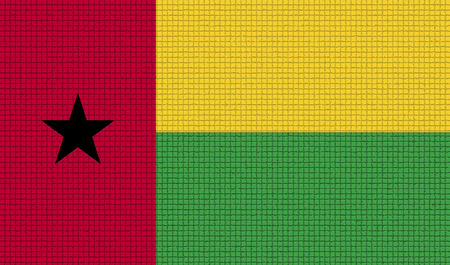 rasterized: Flags of GuineaBissau with abstract textures. Rasterized version Stock Photo