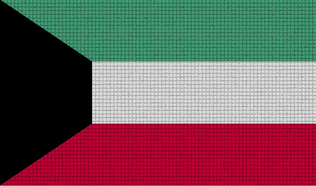 rasterized: Flags of Kuwait with abstract textures. Rasterized version