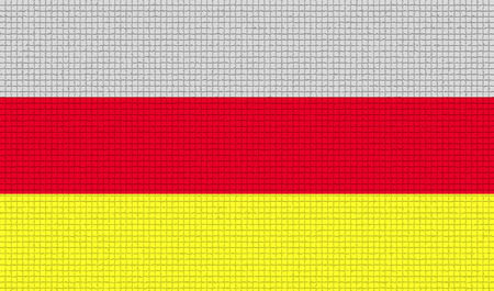 rasterized: Flags of North Ossetia with abstract textures. Rasterized version Stock Photo