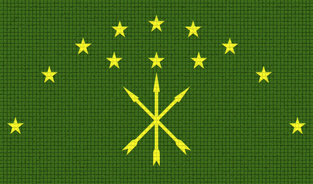 rasterized: Flags of Adygea with abstract textures. Rasterized version