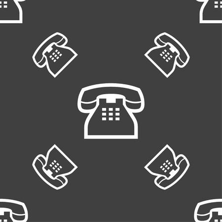 tel: retro telephone handset icon sign. Seamless pattern on a gray background. Vector illustration Illustration