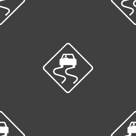 curve ahead sign: Road slippery icon sign. Seamless pattern on a gray background. Vector illustration Illustration