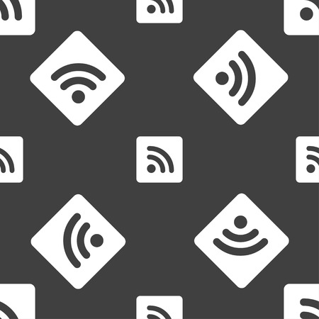 rss feed: RSS feed  icon sign. Seamless pattern on a gray background. Vector illustration Illustration