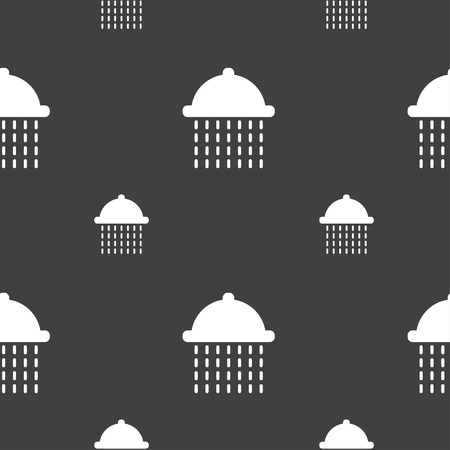 squirt: shower icon sign. Seamless pattern on a gray background. Vector illustration
