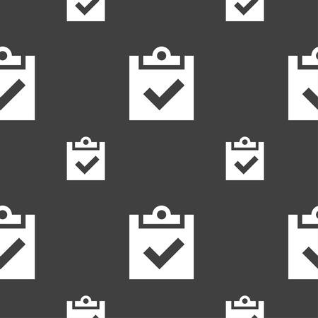 tik: Check mark, tik icon sign. Seamless pattern on a gray background. Vector illustration