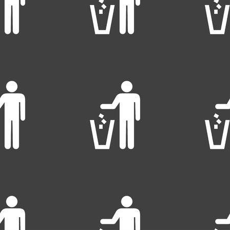 throw away: throw away the trash icon sign. Seamless pattern on a gray background. Vector illustration