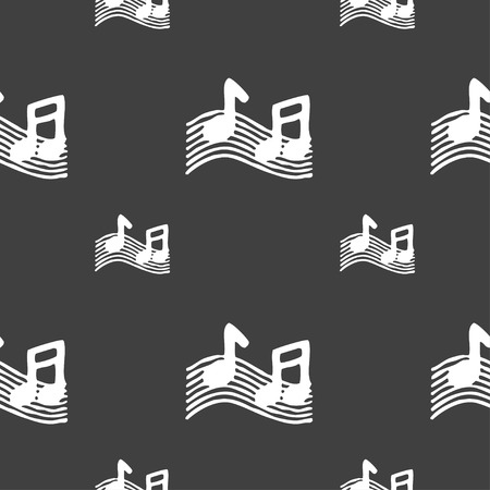 ringtone: musical note, music, ringtone icon sign. Seamless pattern on a gray background. Vector illustration