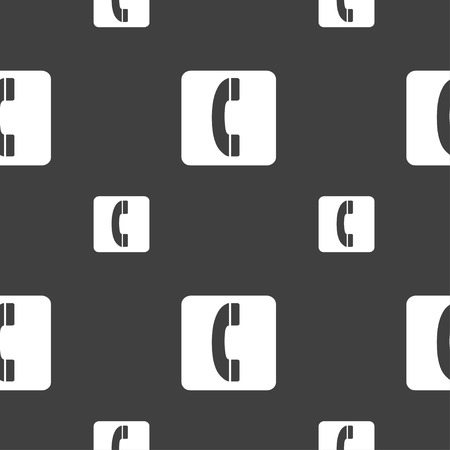 cordless phone: handset icon sign. Seamless pattern on a gray background. Vector illustration Illustration