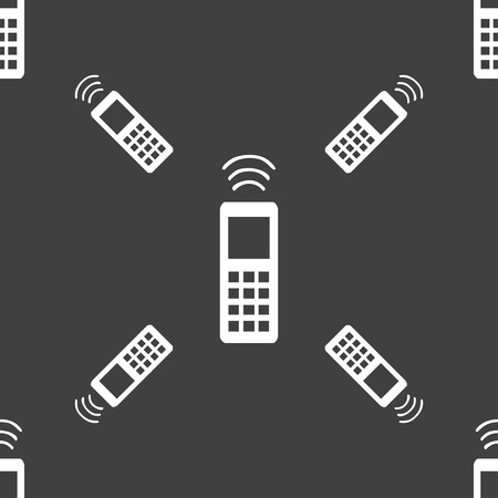 remote control: the remote control icon sign. Seamless pattern on a gray background. Vector illustration