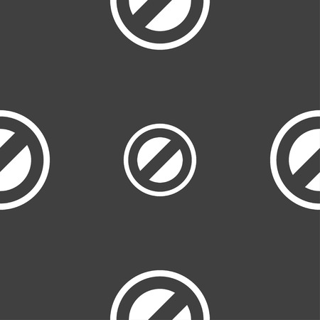 delay: Cancel icon sign. Seamless pattern on a gray background. Vector illustration