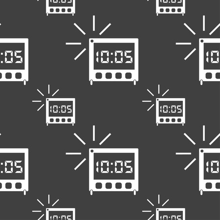 digital clock: digital Alarm Clock icon sign. Seamless pattern on a gray background. Vector illustration