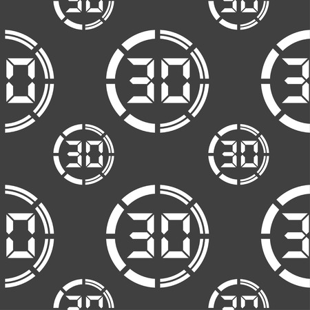 corner clock: 30 second stopwatch icon sign. Seamless pattern on a gray background. Vector illustration
