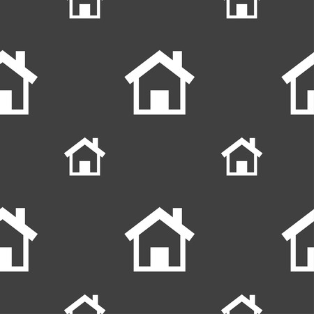 main: Home, Main page icon sign. Seamless pattern on a gray background. Vector illustration