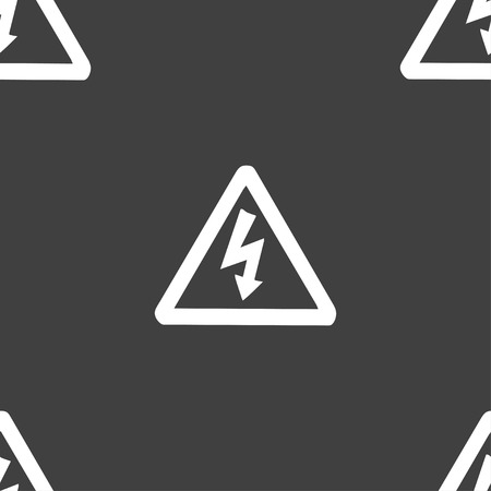 voltage gray: voltage icon sign. Seamless pattern on a gray background. Vector illustration Illustration