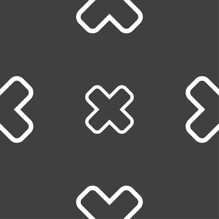 dismiss: Cancel icon sign. Seamless pattern on a gray background. Vector illustration