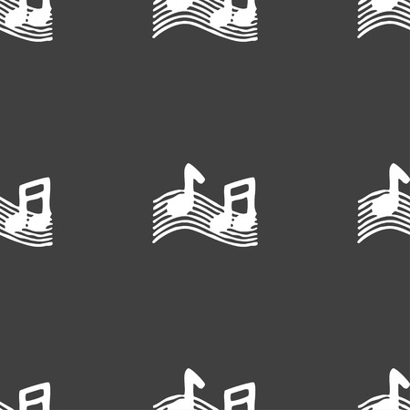 accord: musical note, music, ringtone icon sign. Seamless pattern on a gray background. Vector illustration