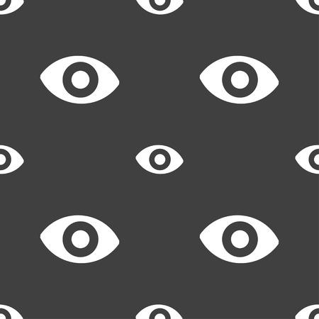 sense: sixth sense, the eye icon sign. Seamless pattern on a gray background. Vector illustration