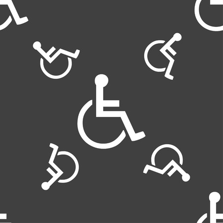 paralyze: disabled icon sign. Seamless pattern on a gray background. Vector illustration Illustration