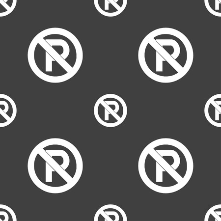 no  parking: No parking icon sign. Seamless pattern on a gray background. Vector illustration