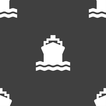 brigantine: ship icon sign. Seamless pattern on a gray background. Vector illustration