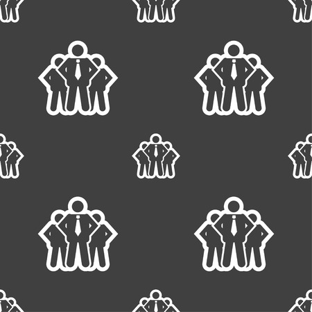 business team: business team icon sign. Seamless pattern on a gray background. Vector illustration