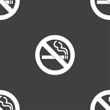 hazard damage: no smoking icon sign. Seamless pattern on a gray background. Vector illustration Illustration