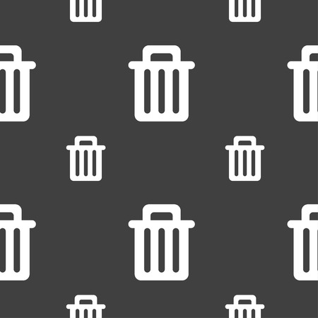 garbage tank: Recycle bin icon sign. Seamless pattern on a gray background. Vector illustration